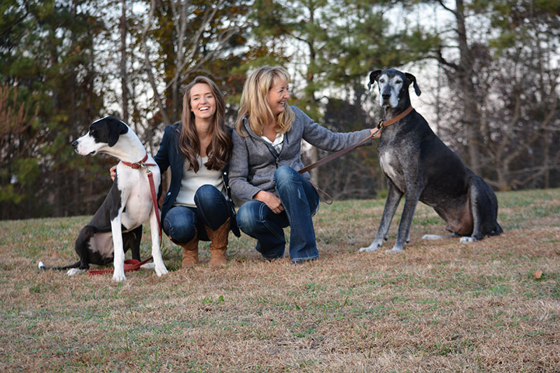 Gail and Claire McCown with their dogs
